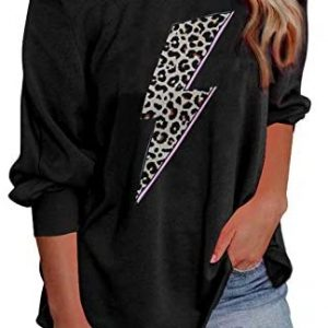 Elapsy Womens Off The Shoulder Sweatshirt Printed Long Sleeve Oversized Pullover Shirt Tops