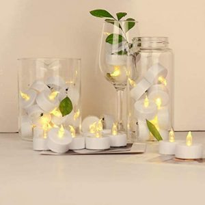 JUNPEI 24Pack Battery Tea Lights – LED Tea Lights Realistic and Bright Flickering Holiday Gift Operated Flameless LED Tea Light for Seasonal & Festival Celebration Warm Yellow Lamp Battery Powered