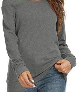 YSYOKOW Womens Cute Sexy Off Shoulder Blouses Long Sleeve Boat Neck Tunics Tops