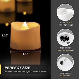 Homemory LED Candles, Lasts 2X Longer, Realistic Tea Lights Candles, LED Tea Lights, Flickering Bright Tealights, Battery Operated/Powered, Flameless Candles, White Base, Batteries Included, Set of 12
