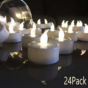 VETOUR Flameless Tea Lights Candles Realistic LED Flickering Operated Tea Lights Steady Battery Tealights Long Lasting Electric Fake Candles in White 24pcs Decoration for Party and Gifts Ideas