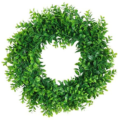 "Pauwer Artificial Green Leaves Wreath 16"" Boxwood Wreath Farmhouse Greenery Wreath for Front Door Hanging Wall Window Party Decor (16"" Boxwood)"
