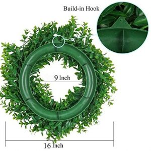 Pauwer Artificial Green Leaves Wreath 16″ Boxwood Wreath Farmhouse Greenery Wreath for Front Door Hanging Wall Window Party Decor (16″ Boxwood)