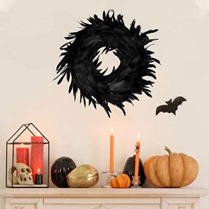 JOYIN Natural Feathers Wreath 13.75″ in Black for Halloween Decorations, Spooky Scene Party Favors, Halloween Photo Props, Trick of Treat, Front Door