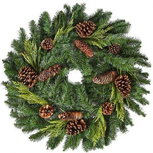 26″ Juniper Pine Wreath (30″ Fully Opened) – Accurately Mimics Texture and Color of Natural, Freshly Cut Pine Needles – Adorned with Select Cones & Cedar Sprigs – Designer Preferred Look