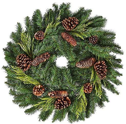 "26"" Juniper Pine Wreath (30"" Fully Opened) - Accurately Mimics Texture and Color of Natural, Freshly Cut Pine Needles - Adorned with Select Cones & Cedar Sprigs - Designer Preferred Look"