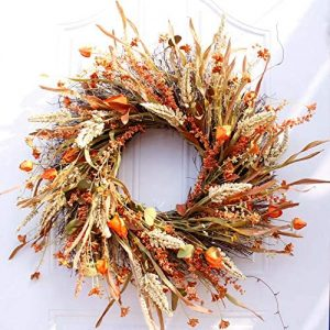 Dseap Wreath – 24 Inch Fall Wreath, Straw Wreath, Farmhouse Door Wreaths for Front Door Autumn, DRUI-24IN