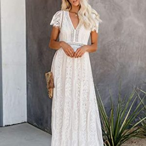 Bdcoco Women's V Neck Floral Lace Wedding Dress Short Sleeve Bridesmaid Evening Party Maxi Dress
