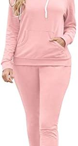 Selowin Women Casual Sweatsuit Pullover Hoodie Sweatpants Sport Outfits Jogger Set