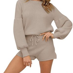 Fixmatti Women 2 Piece Knit Outfits Long Sleeve Sweater Top and Shorts Sweatsuits Set