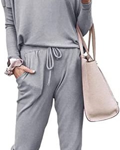 Fixmatti Women Casual 2 Piece Outfit Long Pant Set Sweatsuits Tracksuits