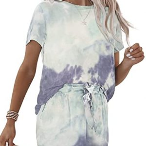 ROSKIKI Womens Tie Dye Printed Pajamas Set Short Sleeve Tee and Pants PJ Set Loungewear Nightwear Sleepwear