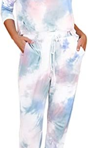 Selowin Women Tie Dye Sweatsuit Long Sleeve Pullover Sweatpants 2 Pcs Lounge Jogger Set