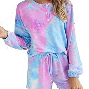 BTFBM Women Pajamas Tie Dye Print Long Sleeve Shirt Elastic Drawstring Shorts Pant PJ Set Sleepwear Loungewear Nightgown