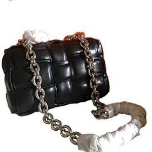 EvaLuLu Woven Chain Bag Genuine Leather Women Shoudler Bag