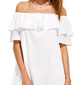 Milumia Women's Off Shoulder Ruffles Shift Loose Summer Vacation Mini Dress