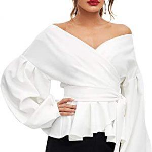 SheIn Women's Long Sleeve V Neck Ruffle Blouse Off Shoulder Tie Waist Wrap Tops