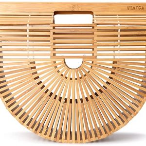 Vintga Bamboo Bags for Women Summer Straw Bags Wooden Beach Purses Basket Handle Handbags