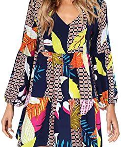 Amoretu Women Summer Tunic Dress V Neck Casual Loose Flowy Swing Shift Dresses