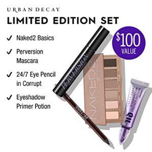 Urban Decay Basics On The Go Eye Makeup Set – Naked2 Basics Eyeshadow Palette + Perversion Volumizing Mascara + 24/7 Glide-On Waterproof Eyeliner Pencil + Eyeshadow Primer Potion (0.33 oz)